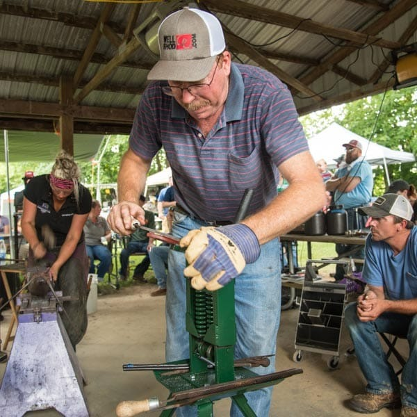 Farrier Rasping Shoe at 2019 FORGE OF JULY in SHELBYVILLE, KY