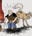 Farrier and horse